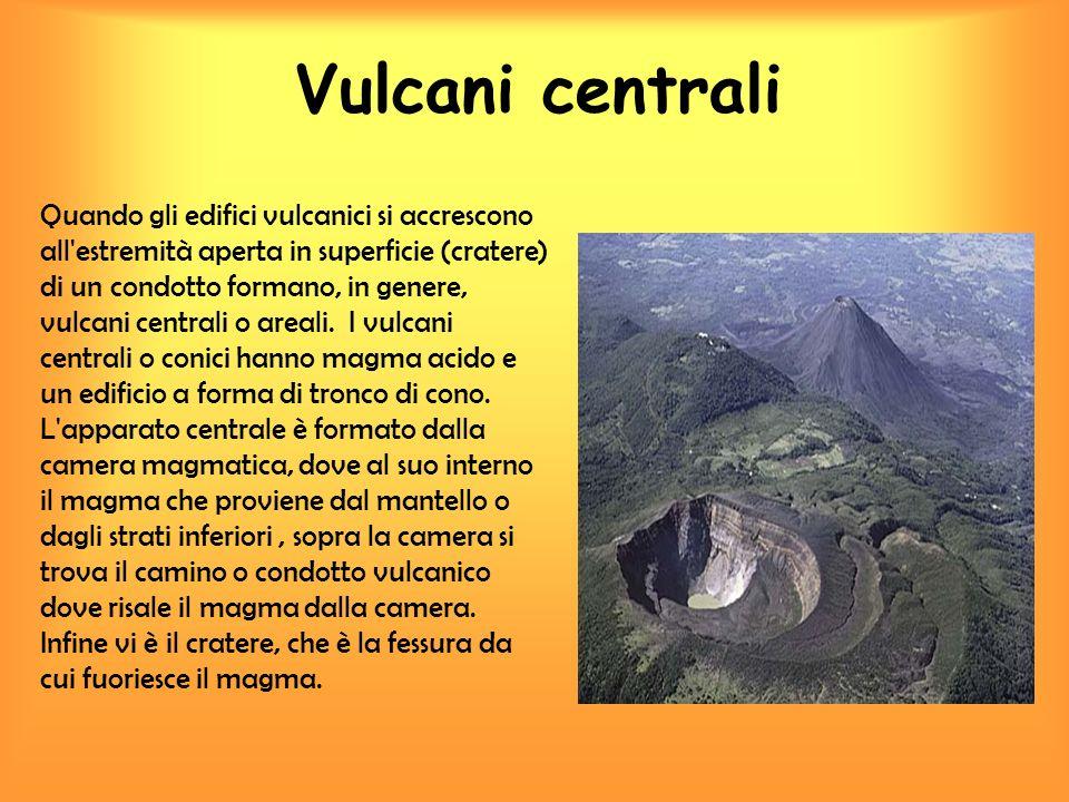 Vulcani centrali Quando gli edifici vulcanici si accrescono all'estremità aperta in superficie (cratere) di un condotto formano, in genere, vulcani ce