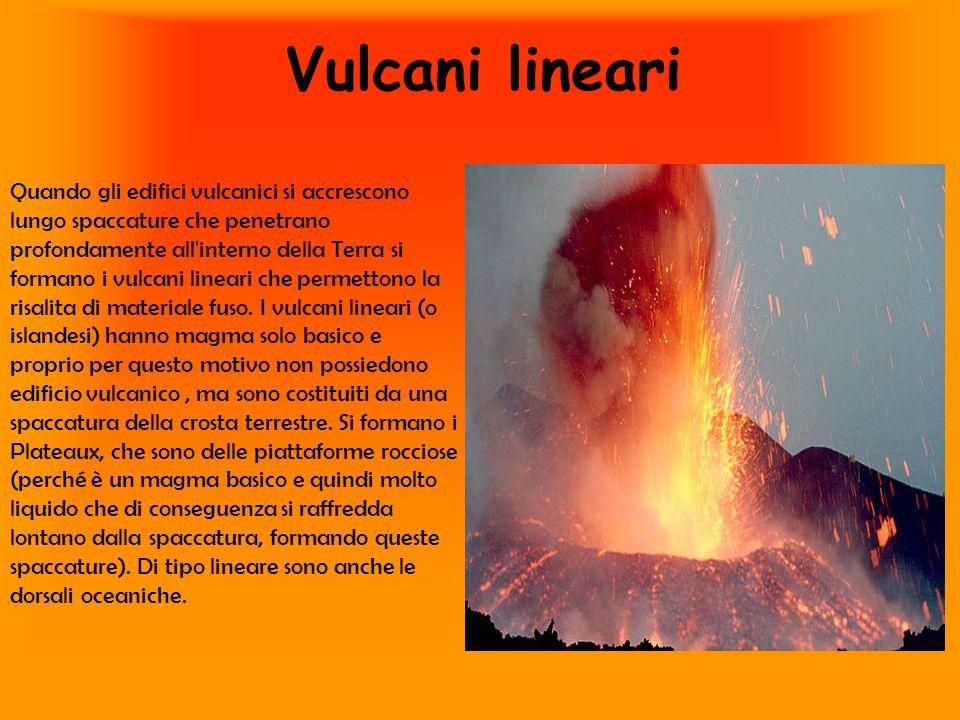 Vulcani lineari Quando gli edifici vulcanici si accrescono lungo spaccature che penetrano profondamente all'interno della Terra si formano i vulcani l