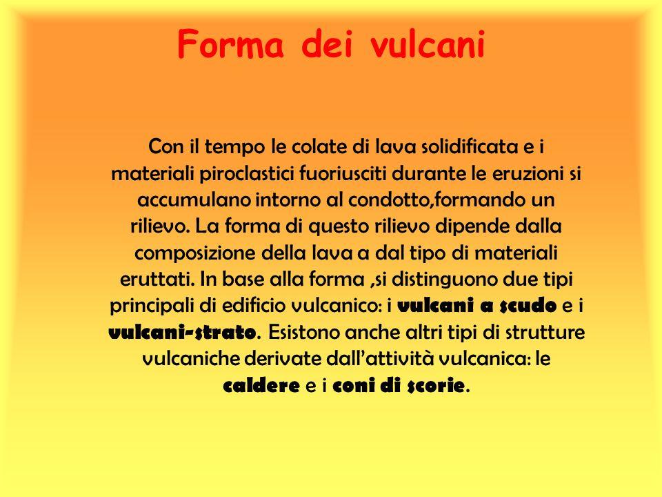 Vulcani a scudo Vulcani a scudo : i fianchi di questi vulcani, che raggiungono notevoli altezze, sono sempre dolci.