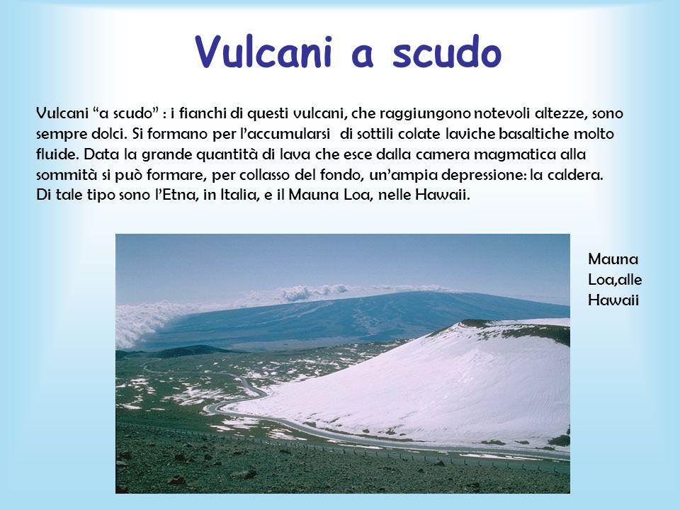 Vulcani a scudo Vulcani a scudo : i fianchi di questi vulcani, che raggiungono notevoli altezze, sono sempre dolci. Si formano per laccumularsi di sot