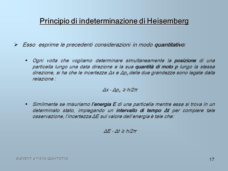 Principio di indeterminazione di Heisemberg Esso esprime le precedenti considerazioni in modo quantitativo: Ogni volta che vogliamo determinare simult