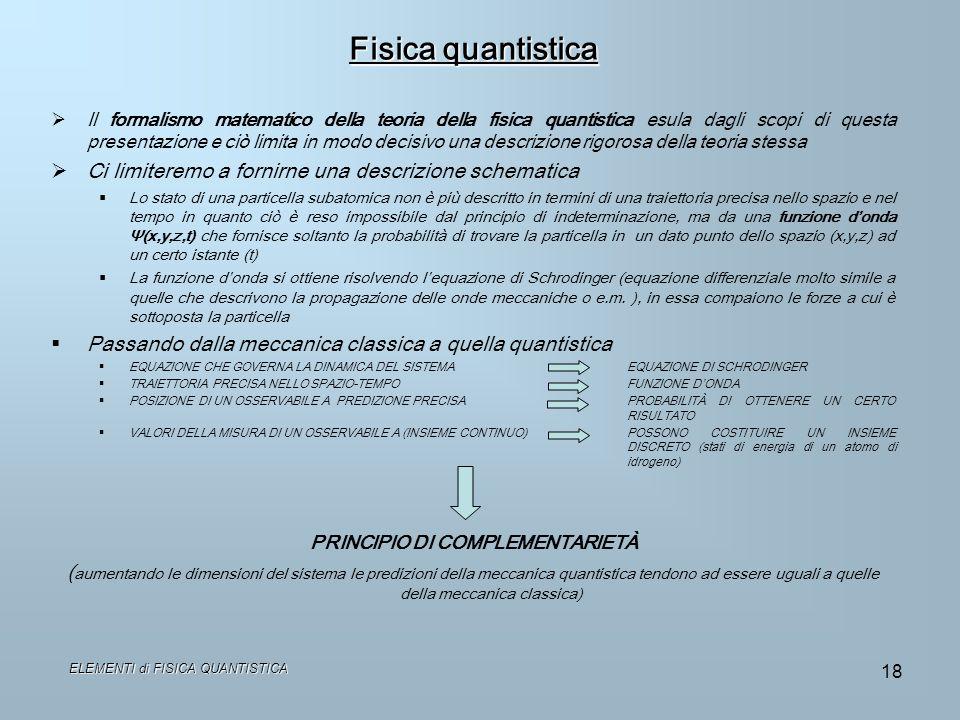 ELEMENTI di FISICA QUANTISTICA 18 Fisica quantistica Il formalismo matematico della teoria della fisica quantistica esula dagli scopi di questa presen