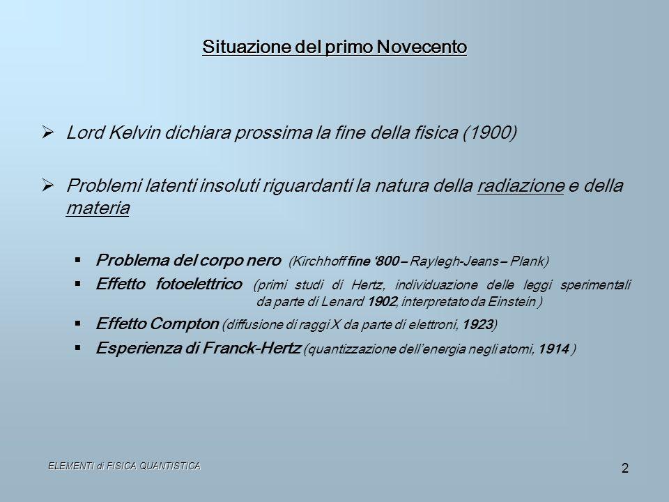 2 Situazione del primo Novecento Lord Kelvin dichiara prossima la fine della fisica (1900) Problemi latenti insoluti riguardanti la natura della radia