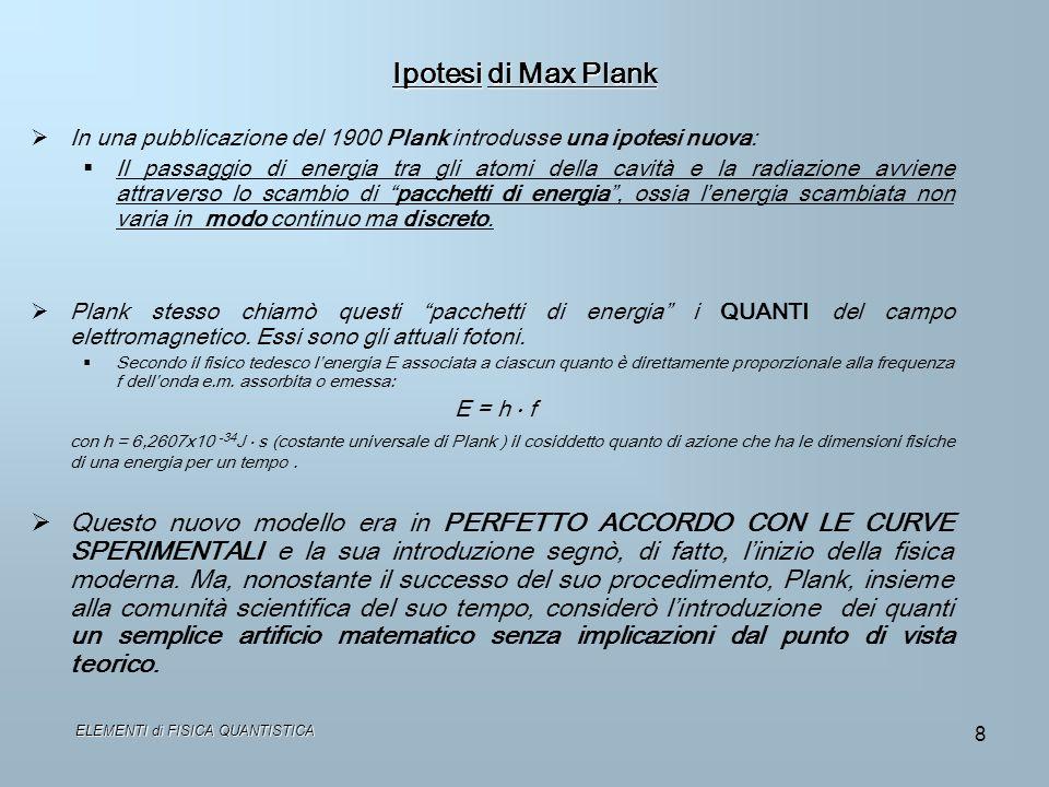 ELEMENTI di FISICA QUANTISTICA 8 Ipotesi di Max Plank In una pubblicazione del 1900 Plank introdusse una ipotesi nuova: Il passaggio di energia tra gl