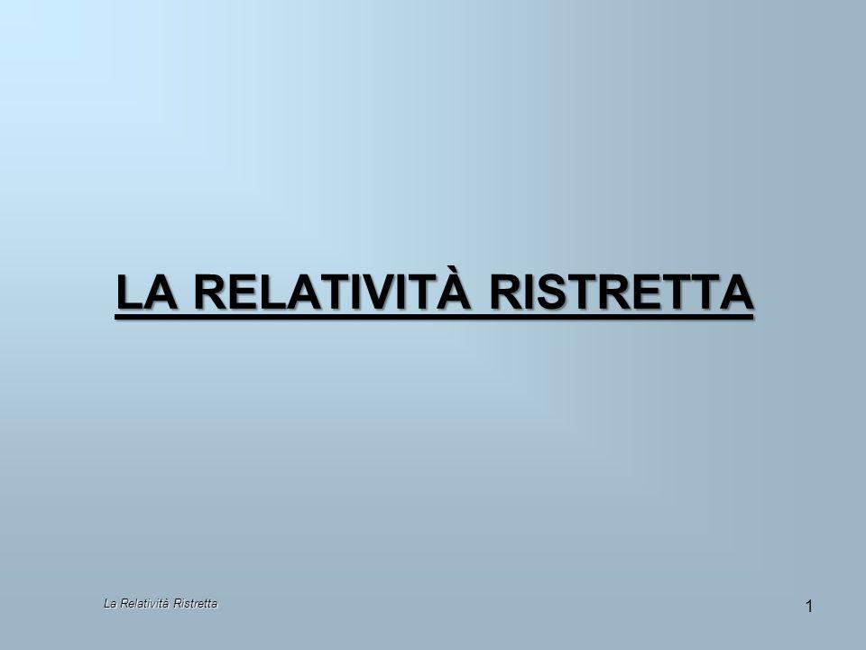 La Relatività ristretta 22 Osserviamo che: La correzione diventa apprezzabile solo per u prossima a c.