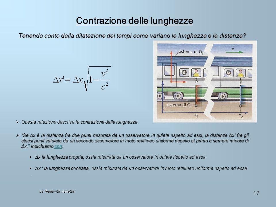 Contrazione delle lunghezze Tenendo conto della dilatazione dei tempi come variano le lunghezze e le distanze? contrazione delle lunghezze. Questa rel