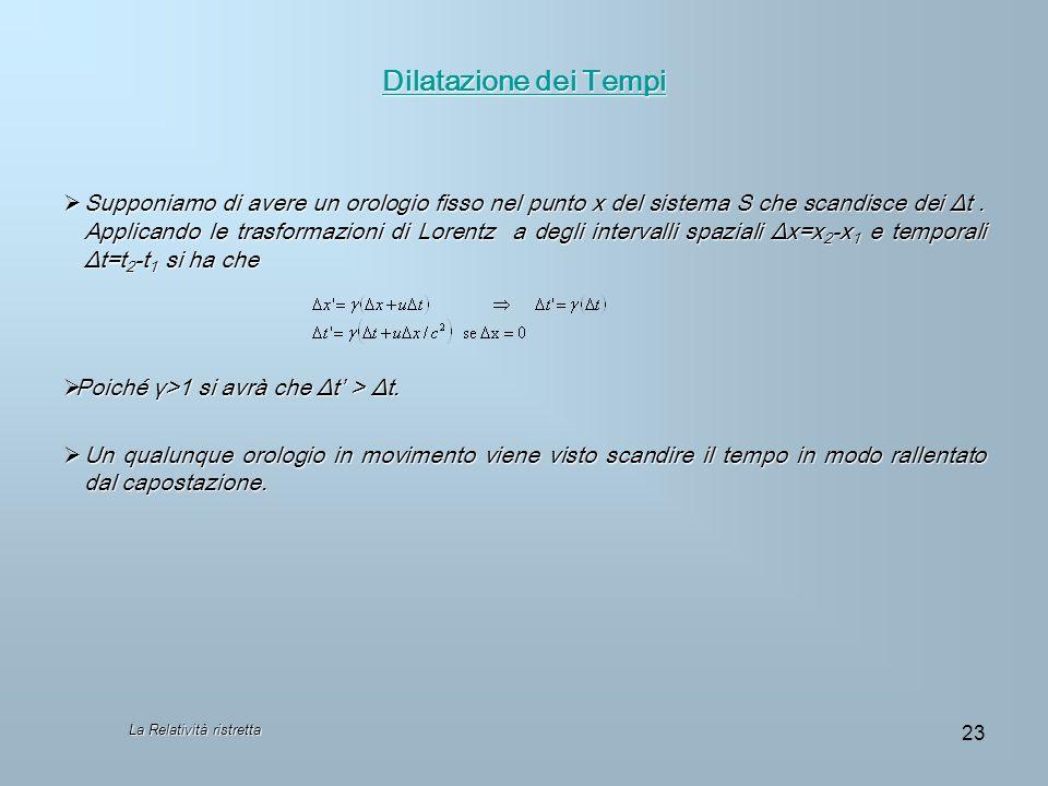 La Relatività ristretta 23 Dilatazione dei Tempi Dilatazione dei Tempi Supponiamo di avere un orologio fisso nel punto x del sistema S che scandisce d
