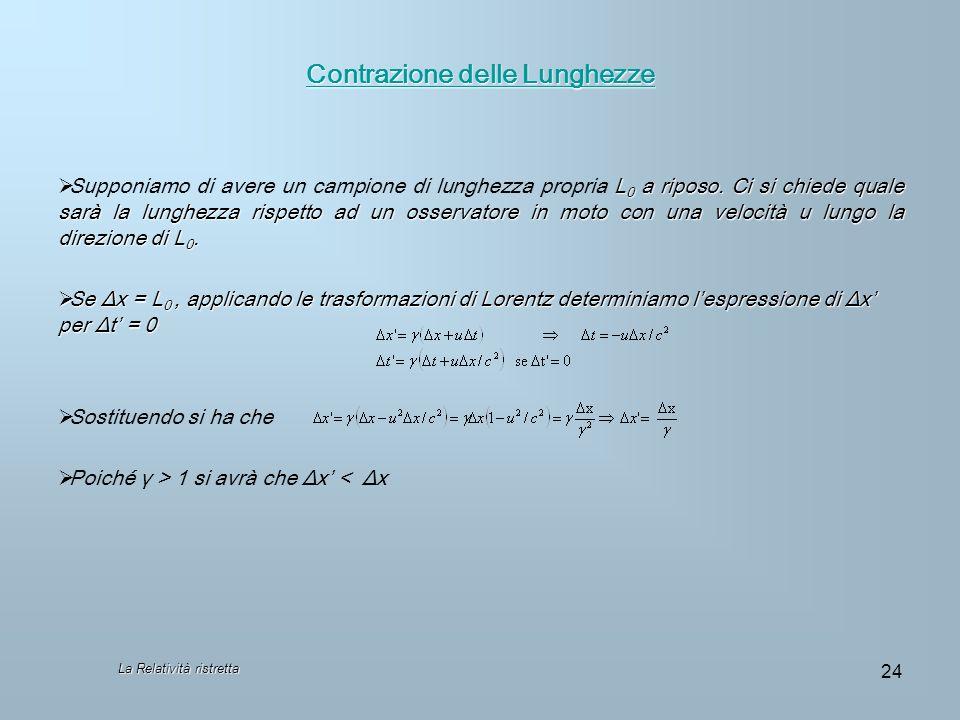 La Relatività ristretta 24 Contrazione delle Lunghezze Contrazione delle Lunghezze L 0 a riposo. Ci si chiede quale sarà la lunghezza rispetto ad un o