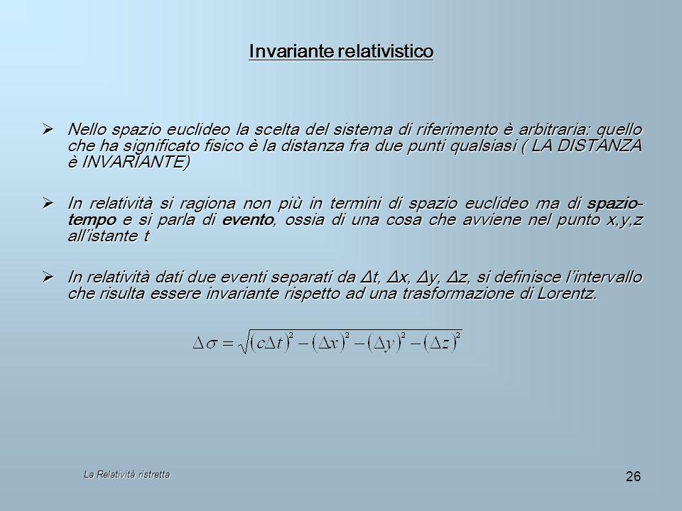Invariante relativistico Nello spazio euclideo la scelta del sistema di riferimento è arbitraria: quello che ha significato fisico è la distanza fra d