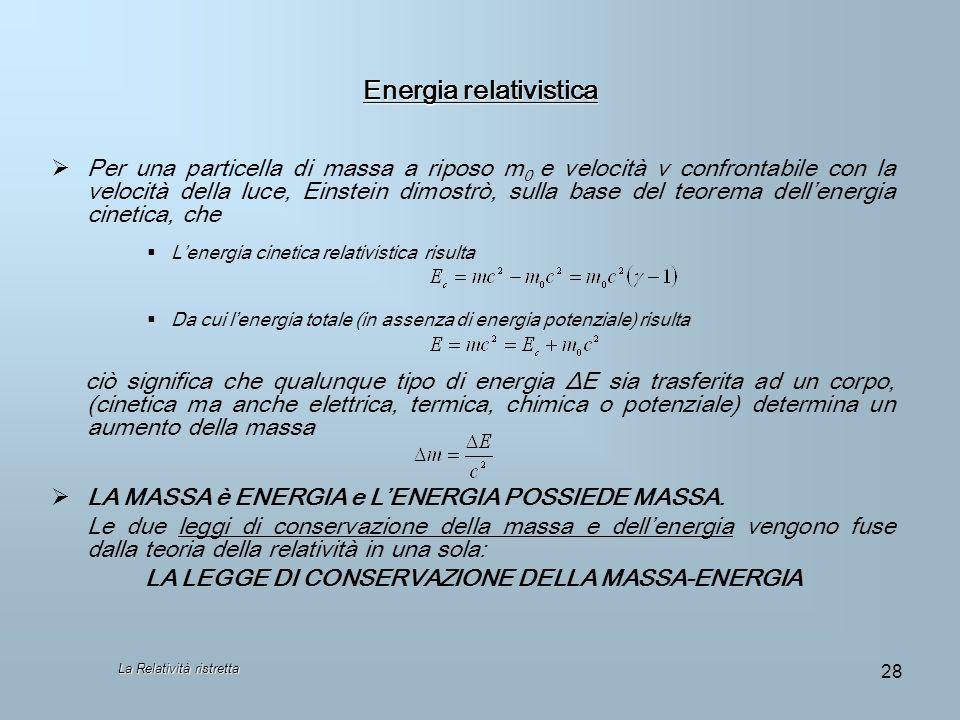 La Relatività ristretta 28 Energia relativistica Per una particella di massa a riposo m 0 e velocità v confrontabile con la velocità della luce, Einst
