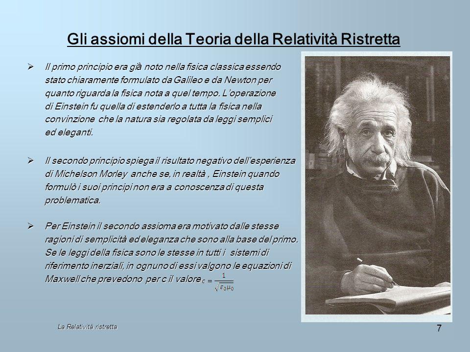 Gli assiomi della Teoria della Relatività Ristretta Il primo principio era gi à noto nella fisica classica essendo Il primo principio era gi à noto ne
