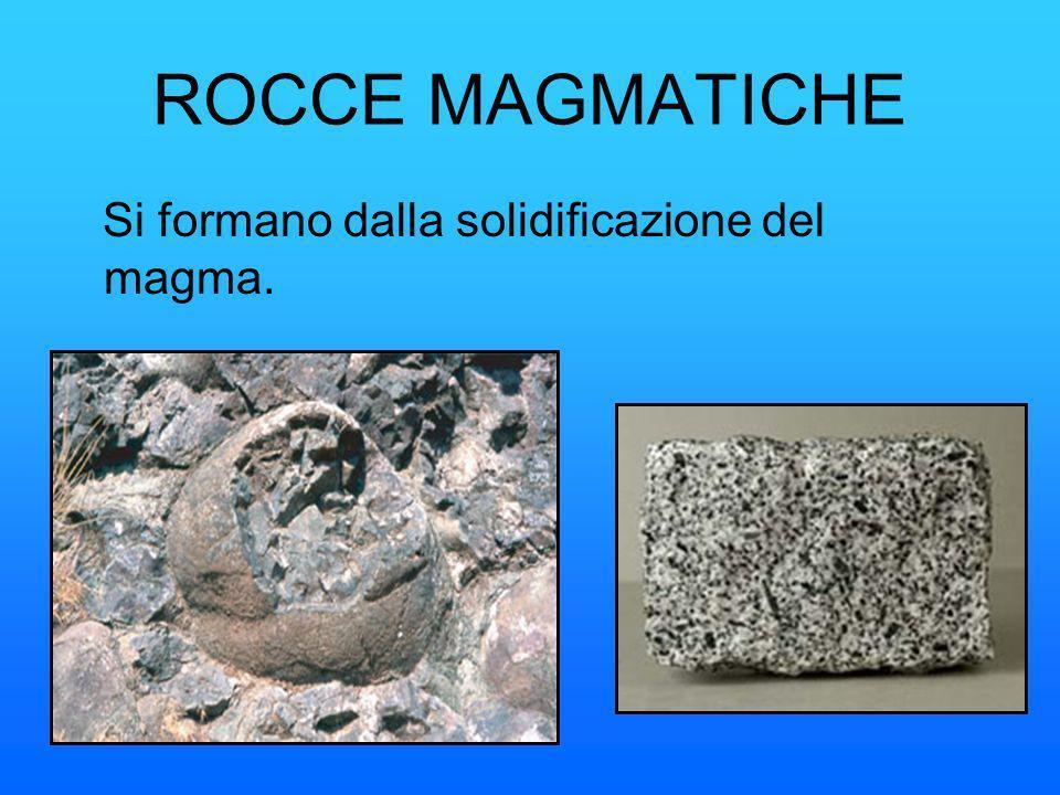 ROCCE MAGMATICHE Si formano dalla solidificazione del magma.