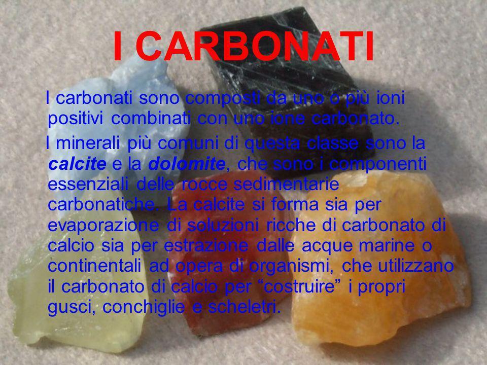 I CARBONATI I carbonati sono composti da uno o più ioni positivi combinati con uno ione carbonato. I minerali più comuni di questa classe sono la calc
