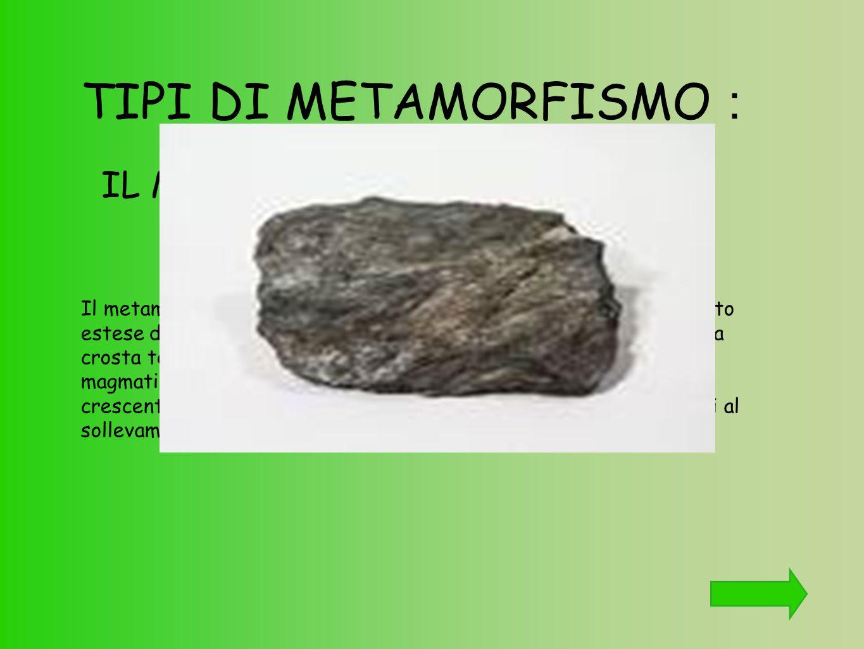 TIPI DI METAMORFISMO : Il metamorfismo regionale è un fenomeno che riguarda porzioni molto estese della crosta terrestre. Si verifica quando dei movim