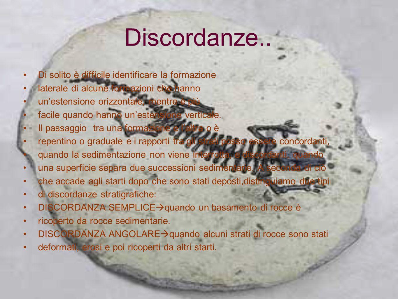 Discordanze.. Di solito è difficile identificare la formazione laterale di alcune formazioni che hanno unestensione orizzontale, mentre è più facile q