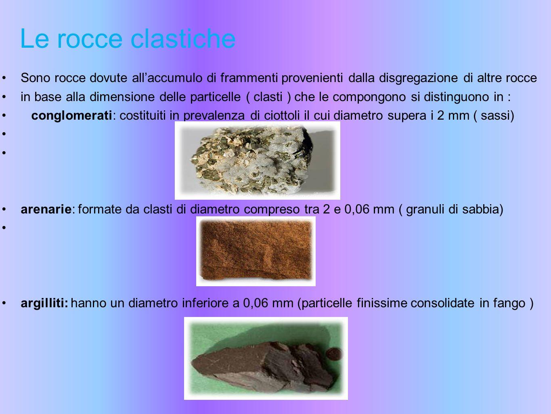 Le rocce clastiche Sono rocce dovute allaccumulo di frammenti provenienti dalla disgregazione di altre rocce in base alla dimensione delle particelle