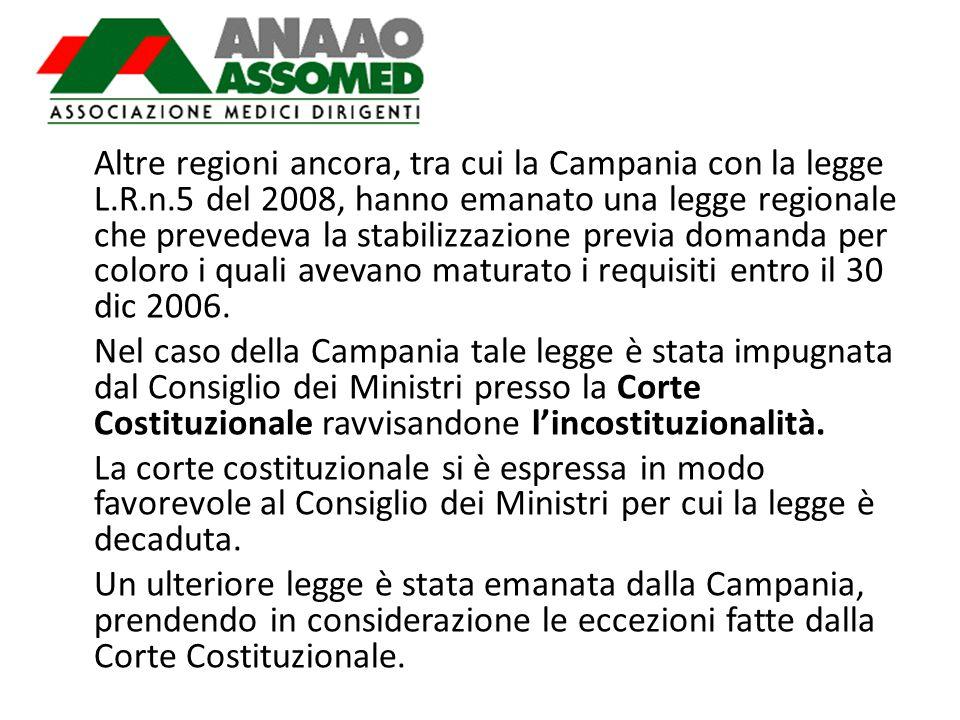 Altre regioni ancora, tra cui la Campania con la legge L.R.n.5 del 2008, hanno emanato una legge regionale che prevedeva la stabilizzazione previa dom