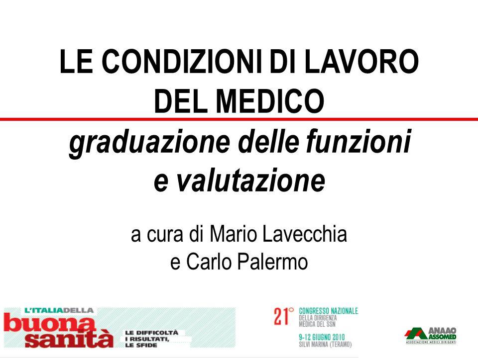 LE CONDIZIONI DI LAVORO DEL MEDICO graduazione delle funzioni e valutazione a cura di Mario Lavecchia e Carlo Palermo