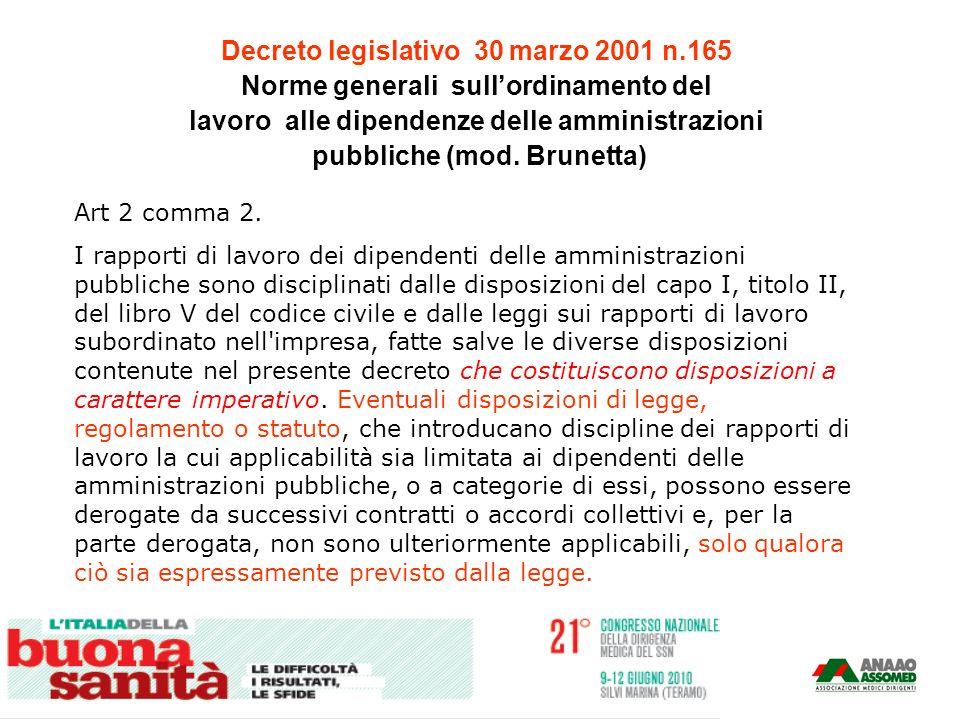 Decreto legislativo 30 marzo 2001 n.165 Norme generali sullordinamento del lavoro alle dipendenze delle amministrazioni pubbliche (mod. Brunetta) Art