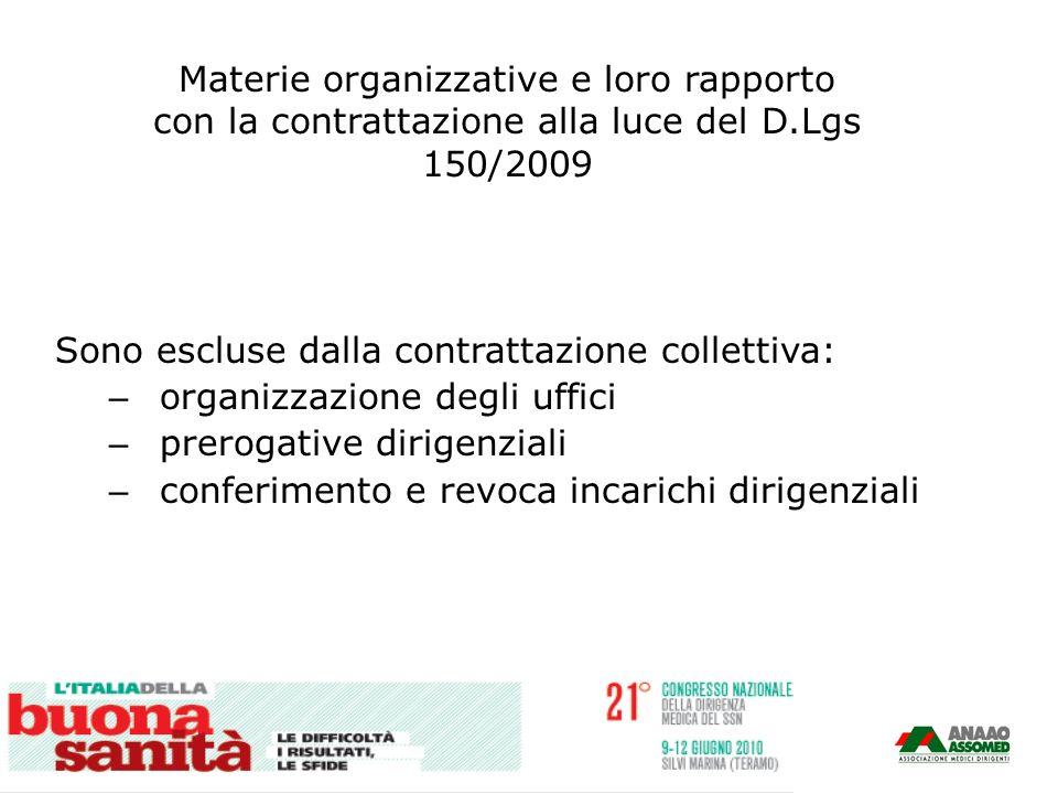 Materie organizzative e loro rapporto con la contrattazione alla luce del D.Lgs 150/2009 Sono escluse dalla contrattazione collettiva: – organizzazion
