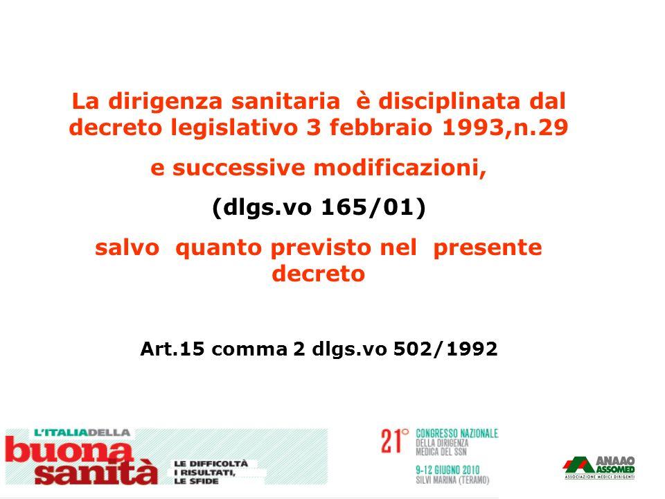 La dirigenza sanitaria è disciplinata dal decreto legislativo 3 febbraio 1993,n.29 e successive modificazioni, (dlgs.vo 165/01) salvo quanto previsto