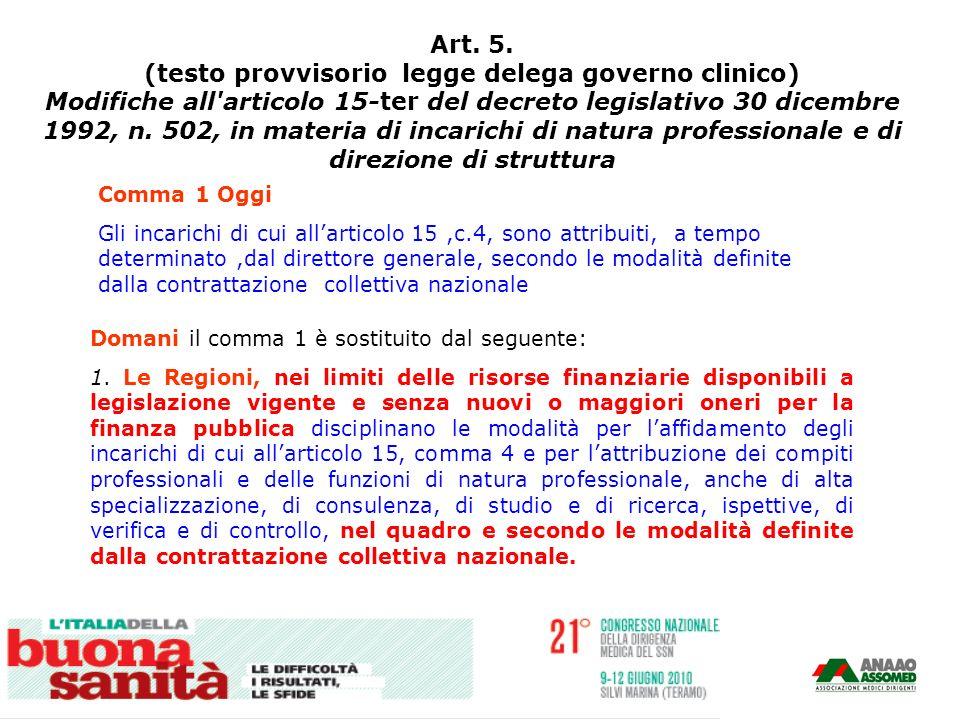 Art. 5. (testo provvisorio legge delega governo clinico) Modifiche all'articolo 15-ter del decreto legislativo 30 dicembre 1992, n. 502, in materia di