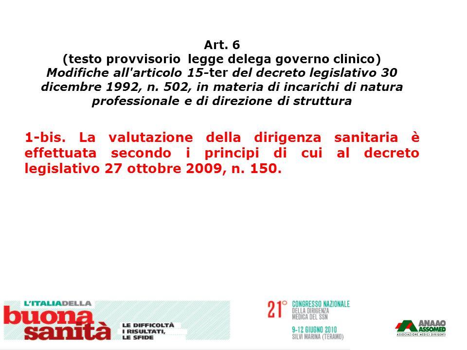 Art. 6 (testo provvisorio legge delega governo clinico) Modifiche all'articolo 15-ter del decreto legislativo 30 dicembre 1992, n. 502, in materia di