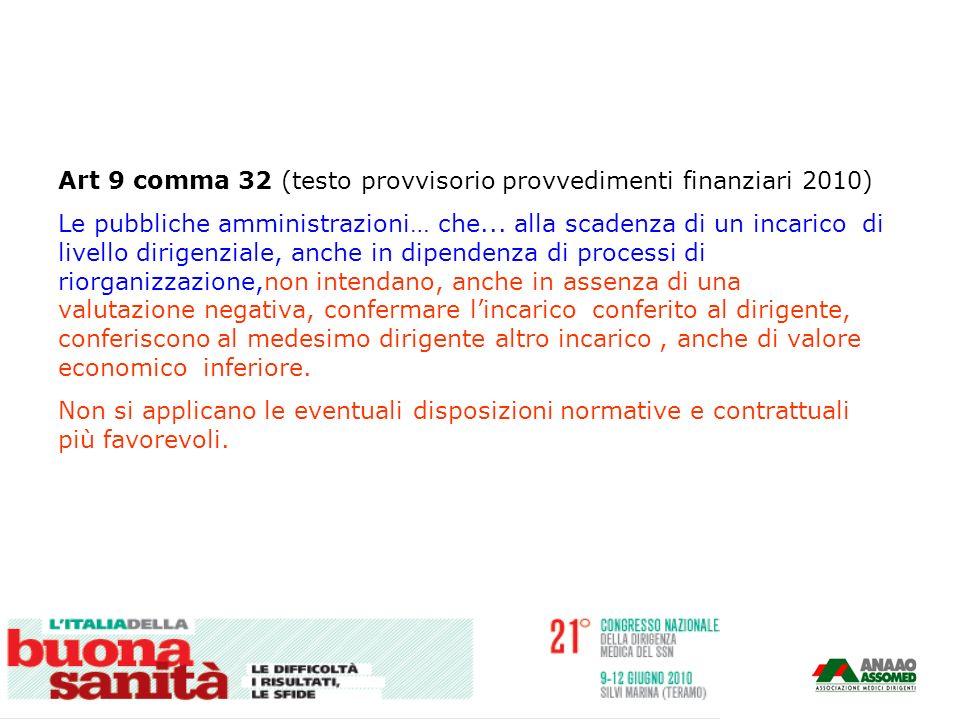 Art 9 comma 32 (testo provvisorio provvedimenti finanziari 2010) Le pubbliche amministrazioni… che... alla scadenza di un incarico di livello dirigenz