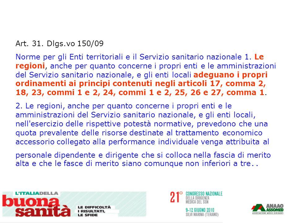 Art. 31. Dlgs.vo 150/09 Norme per gli Enti territoriali e il Servizio sanitario nazionale 1. Le regioni, anche per quanto concerne i propri enti e le
