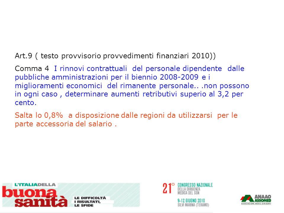 Art.9 ( testo provvisorio provvedimenti finanziari 2010)) Comma 4 I rinnovi contrattuali del personale dipendente dalle pubbliche amministrazioni per