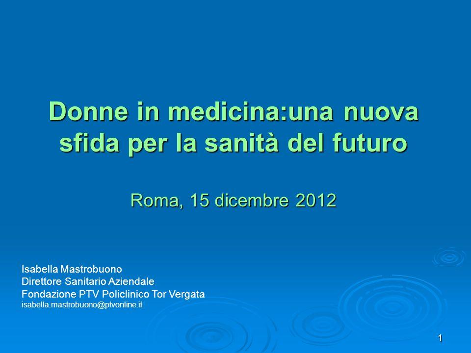 1 Donne in medicina:una nuova sfida per la sanità del futuro Roma, 15 dicembre 2012 Isabella Mastrobuono Direttore Sanitario Aziendale Fondazione PTV