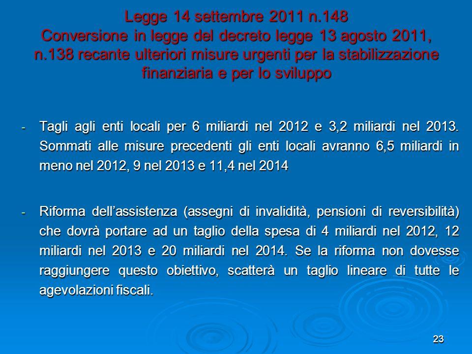 23 Legge 14 settembre 2011 n.148 Conversione in legge del decreto legge 13 agosto 2011, n.138 recante ulteriori misure urgenti per la stabilizzazione