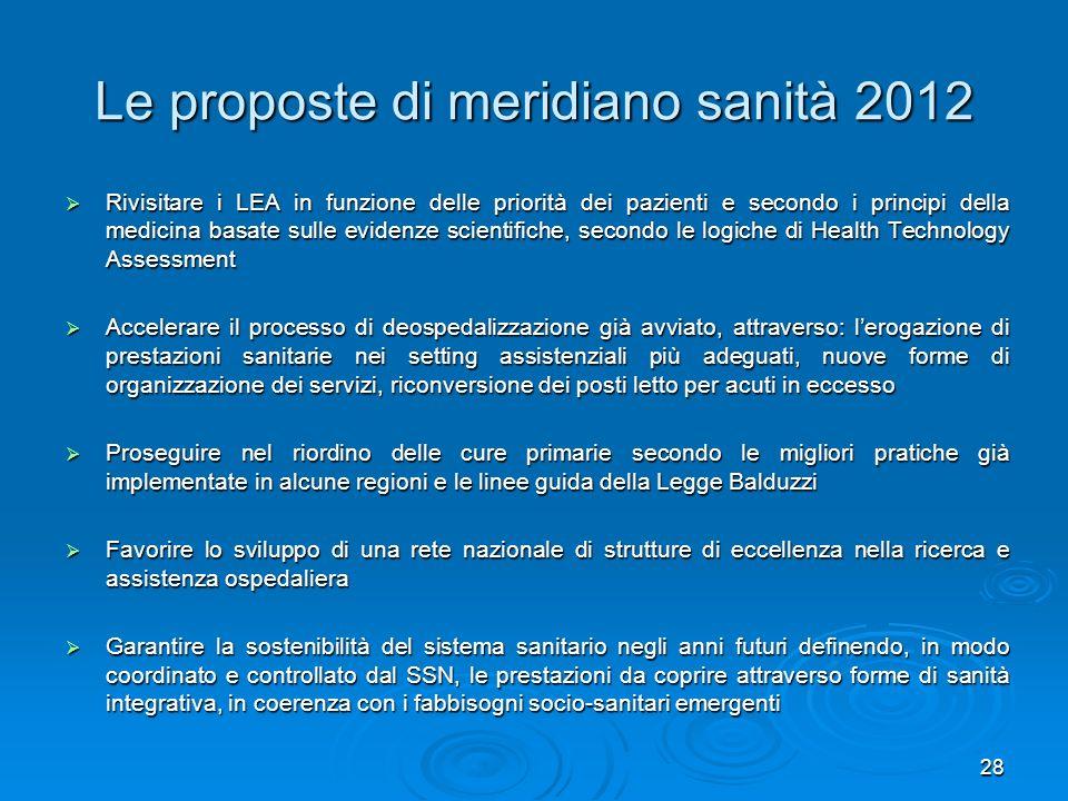 Le proposte di meridiano sanità 2012 Rivisitare i LEA in funzione delle priorità dei pazienti e secondo i principi della medicina basate sulle evidenz