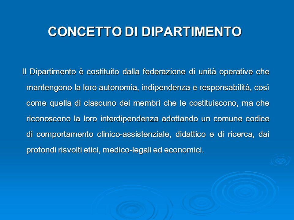 CONCETTO DI DIPARTIMENTO Il Dipartimento è costituito dalla federazione di unità operative che mantengono la loro autonomia, indipendenza e responsabi