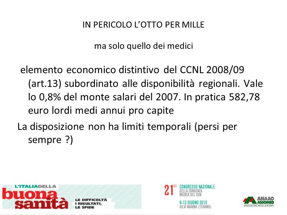 IN PERICOLO LOTTO PER MILLE ma solo quello dei medici elemento economico distintivo del CCNL 2008/09 (art.13) subordinato alle disponibilità regionali.