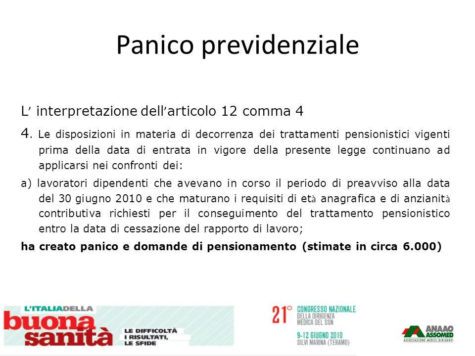 Panico previdenziale L interpretazione dell articolo 12 comma 4 4.