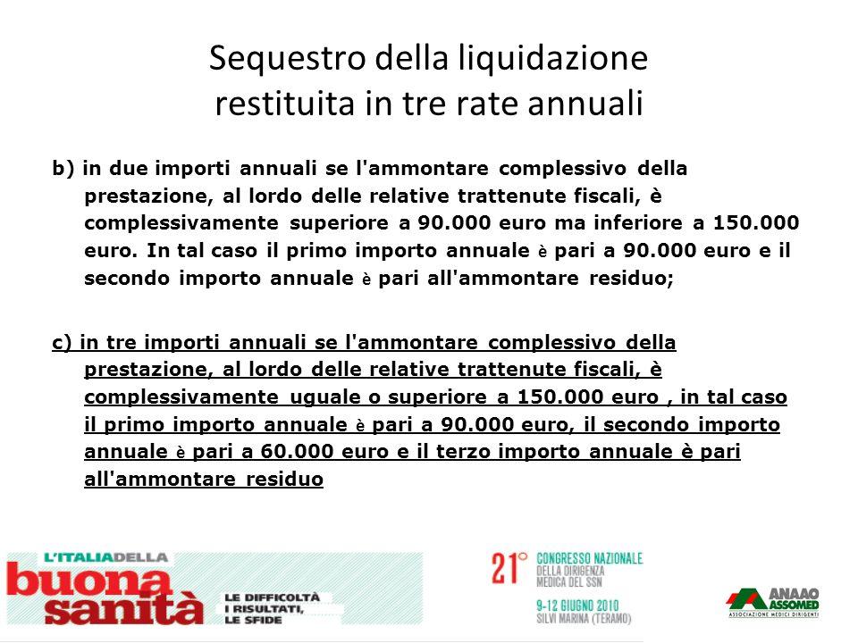 Sequestro della liquidazione restituita in tre rate annuali b) in due importi annuali se l ammontare complessivo della prestazione, al lordo delle relative trattenute fiscali, è complessivamente superiore a 90.000 euro ma inferiore a 150.000 euro.