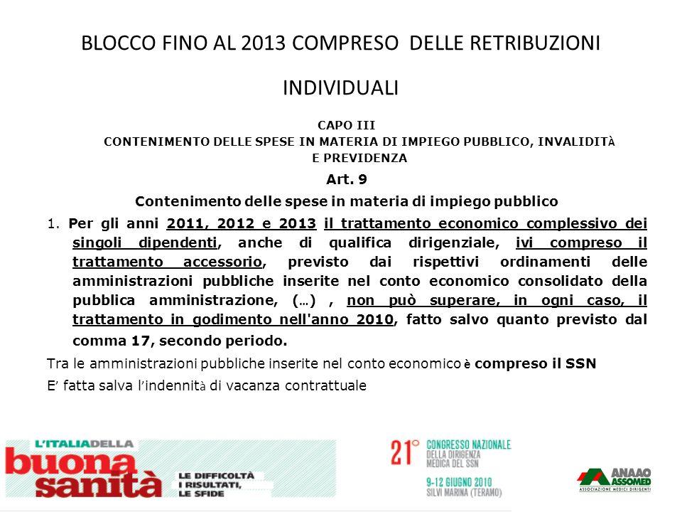 BLOCCO FINO AL 2013 COMPRESO DELLE RETRIBUZIONI INDIVIDUALI CAPO III CONTENIMENTO DELLE SPESE IN MATERIA DI IMPIEGO PUBBLICO, INVALIDIT À E PREVIDENZA Art.