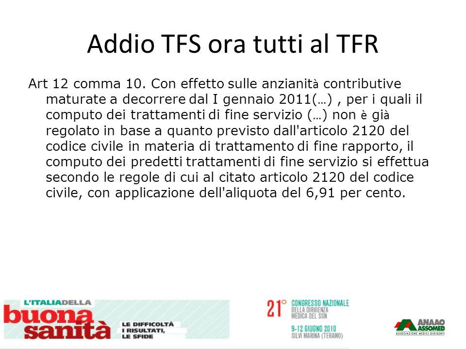 Addio TFS ora tutti al TFR Art 12 comma 10.