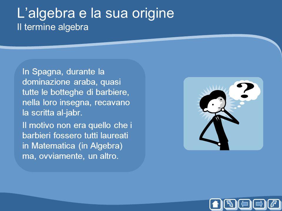 Lalgebra e la sua origine Il termine algebra In Spagna, durante la dominazione araba, quasi tutte le botteghe di barbiere, nella loro insegna, recavan