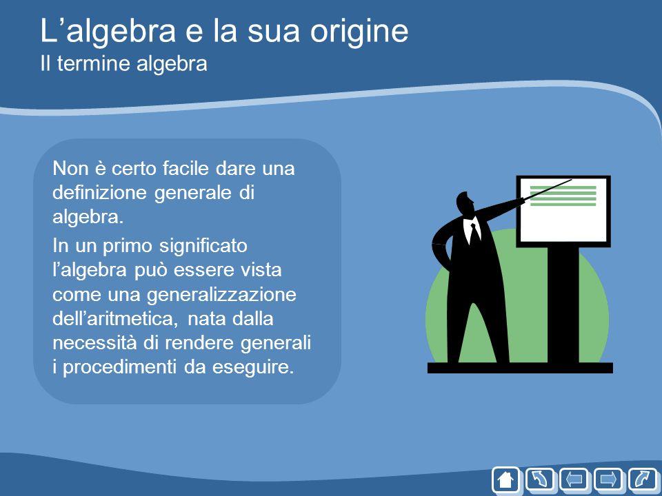 Lalgebra e la sua origine Il termine algebra Non è certo facile dare una definizione generale di algebra. In un primo significato lalgebra può essere