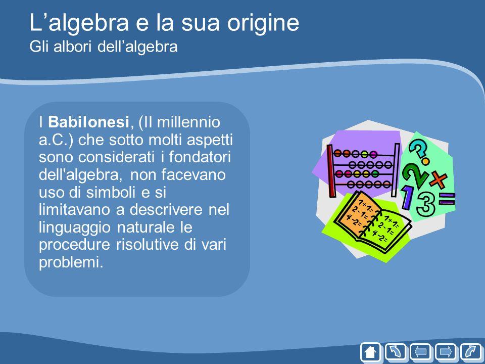 Lalgebra e la sua origine Gli albori dellalgebra I Babilonesi, (II millennio a.C.) che sotto molti aspetti sono considerati i fondatori dell'algebra,