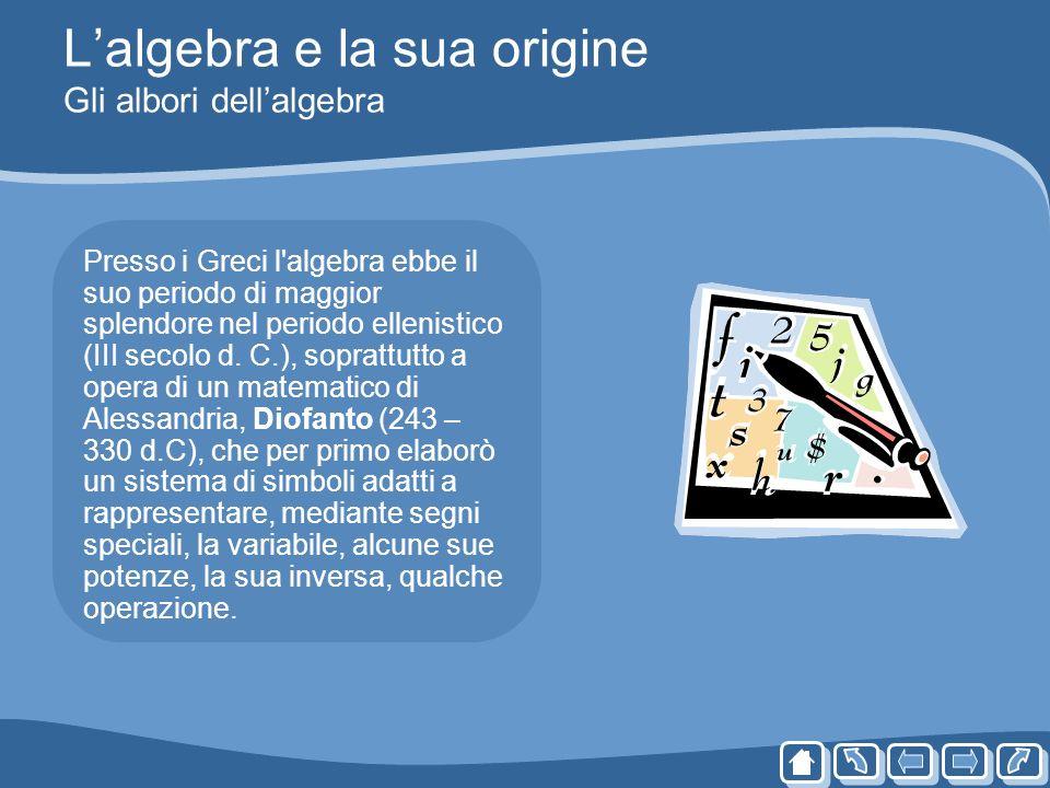 Lalgebra e la sua origine Gli albori dellalgebra Presso i Greci l'algebra ebbe il suo periodo di maggior splendore nel periodo ellenistico (III secolo