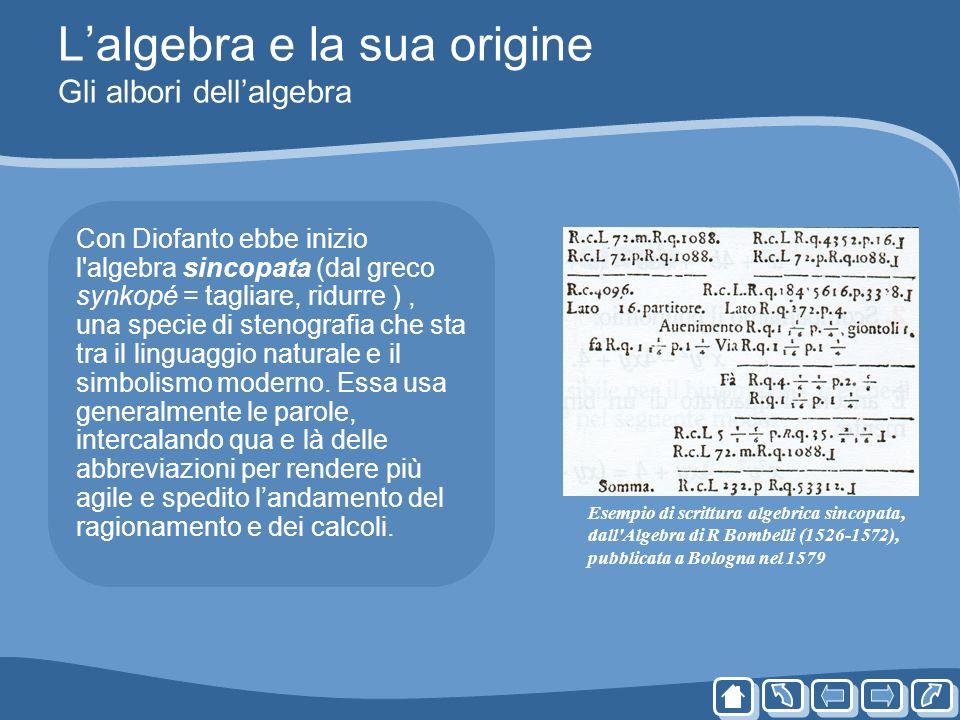 Lalgebra e la sua origine Gli albori dellalgebra Con Diofanto ebbe inizio l'algebra sincopata (dal greco synkopé = tagliare, ridurre ), una specie di