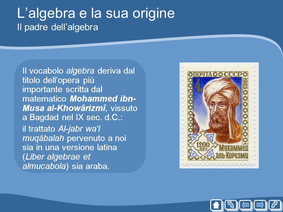 Lalgebra e la sua origine Il padre dellalgebra Il vocabolo algebra deriva dal titolo dellopera più importante scritta dal matematico Mohammed ibn- Mus