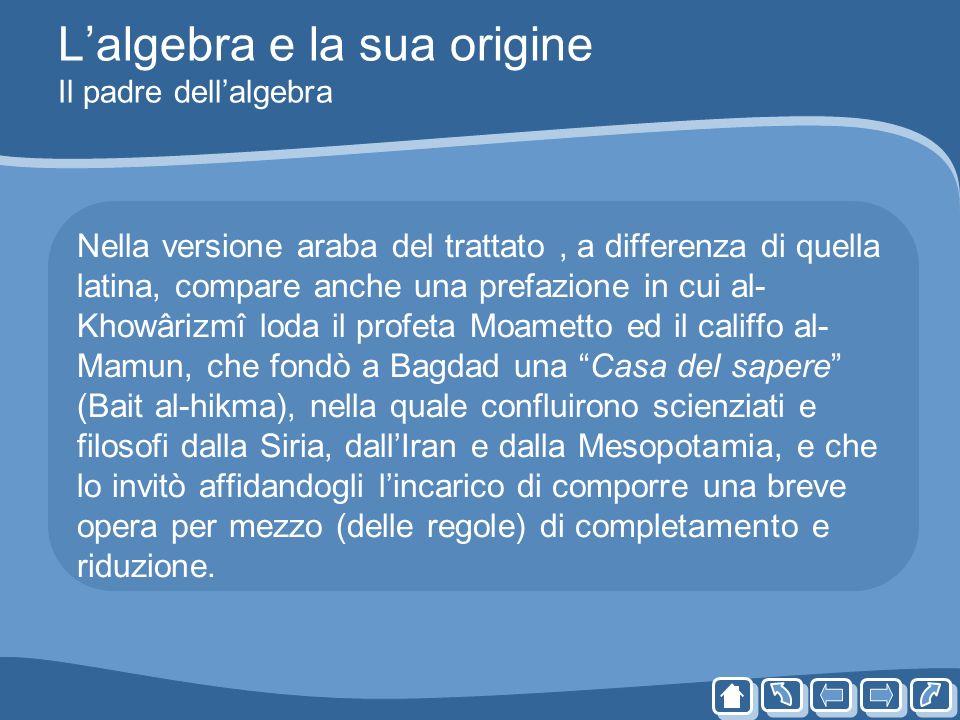 Lalgebra e la sua origine Il padre dellalgebra Nella versione araba del trattato, a differenza di quella latina, compare anche una prefazione in cui a