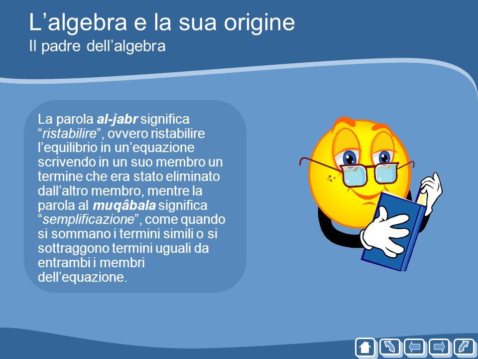 Lalgebra e la sua origine Il padre dellalgebra La parola al-jabr significaristabilire, ovvero ristabilire lequilibrio in unequazione scrivendo in un s