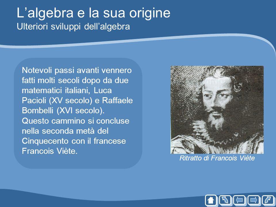 Lalgebra e la sua origine Ulteriori sviluppi dellalgebra Notevoli passi avanti vennero fatti molti secoli dopo da due matematici italiani, Luca Paciol
