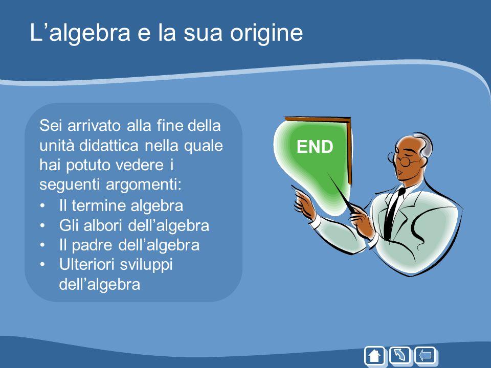 Lalgebra e la sua origine Sei arrivato alla fine della unità didattica nella quale hai potuto vedere i seguenti argomenti: END Il termine algebra Gli
