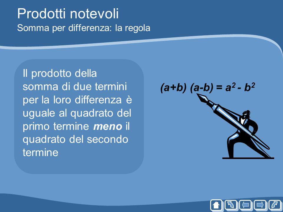 Prodotti notevoli Somma per differenza: la regola Il prodotto della somma di due termini per la loro differenza è uguale al quadrato del primo termine